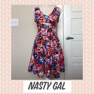 Nasty Gal Boss Multi-Color Floral Midi Dress